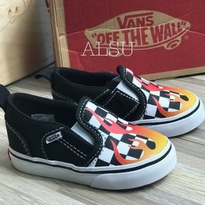 NWT VANS Asher V Flame Checker Kid's AUTHENTIC